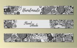 Cartoon doodles Handmade set of sketch banners stock illustration