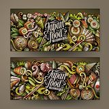 Cartoon doodles japanese food banners. Cartoon cute colorful vector hand drawn doodles japanese food corporate identity. 2 horizontal banners design. Templates Royalty Free Stock Photo