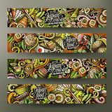 Cartoon doodles japanese food banners. Cartoon cute colorful vector hand drawn doodles japanese food corporate identity. 4 horizontal banners design. Templates Stock Photos