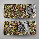 Cartoon doodles japanese food banners. Cartoon cute colorful vector hand drawn doodles japanese food corporate identity. 2 orizontal banners design. Templates Royalty Free Stock Image