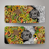 Cartoon doodles japanese food banners Royalty Free Stock Photography