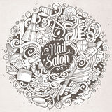 Cartoon doodles Nail salon illustration Royalty Free Stock Images