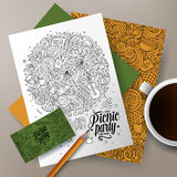 Cartoon doodles picnic corporate identity Stock Images