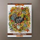 Cartoon doodles picnic poster Stock Images