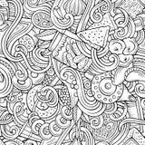 Cartoon doodles Russian food seamless pattern Royalty Free Stock Photo
