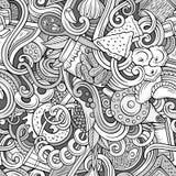 Cartoon doodles Russian food seamless pattern Stock Image