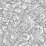 Cartoon doodles travel planning seamless pattern Royalty Free Stock Images