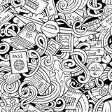 Cartoon doodles travel planning seamless pattern Stock Images
