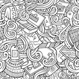 Cartoon doodles travel planning seamless pattern Stock Photo