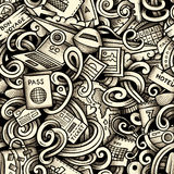 Cartoon doodles Travel season seamless pattern. Graphics detailed, with lots of objects background. Endless raster illustration Royalty Free Stock Photo