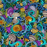 Cartoon doodles under water life seamless pattern Royalty Free Stock Photo