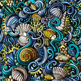 Cartoon doodles under water life seamless pattern Royalty Free Stock Photography