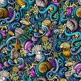 Cartoon doodles under water life seamless pattern Stock Image