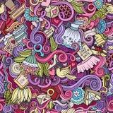 Cartoon doodles wedding seamless pattern Stock Photo