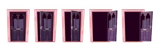 Free Cartoon Door Opening Motion Sequence Animation Set Royalty Free Stock Image - 210811556