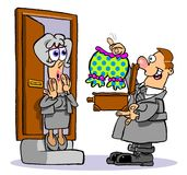 Cartoon door to door salesman Royalty Free Stock Photo
