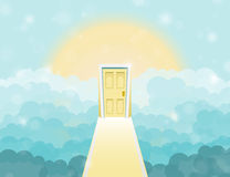 Cartoon door to heaven in the sky. Vector illustration Royalty Free Stock Image
