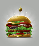 Cartoon double big burger with fresh salad sesame and olive berry Royalty Free Stock Images