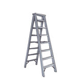 Cartoon Double Ladder. Color Cartoon Double Ladder From Steel.  Illustration Isolated On White Royalty Free Stock Photography