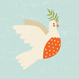 Cartoon dove of peace. Cute vintage dove flying with olive branch royalty free illustration
