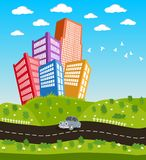 Cartoon downtown road landscape Royalty Free Stock Photos