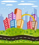 Cartoon downtown road landscape. Illustration of a cartoon road driving through cityscape downtown stock illustration