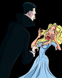 Cartoon Dracula attacking woman. Who is screaming Royalty Free Stock Photos