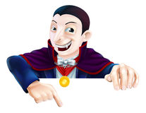 Cartoon Dracula Pointing Down Royalty Free Stock Photos