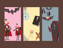 Cartoon dracula vector cards symbols vampire icons character funny man comic halloween and magic spell witchcraft ghost. Night devil tale illustration. Horror Stock Images