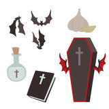 Cartoon dracula vector coffin symbols vampire icons character funny man comic halloween and magic spell witchcraft ghost. Night devil tale illustration. Horror Royalty Free Stock Image