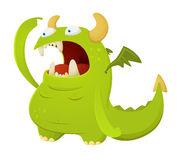 Cartoon Dragon. Cute Green Cartoon Dragon Character Royalty Free Stock Photo