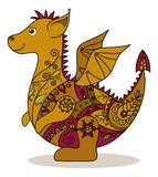 Cartoon Dragon. With a floral pattern. Symbol of holiday East New year Royalty Free Stock Photography