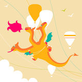 Cartoon dragon. Cartoon funny three-headed dragon Royalty Free Stock Images