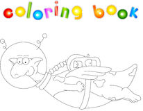 Cartoon dragon astronaut. Coloring book for kids Stock Photography