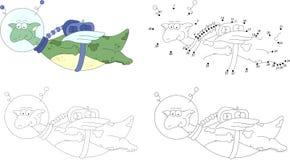 Cartoon dragon astronaut. Dot to dot game for kids Stock Image