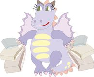 Cartoon dragon with bags - chinese symbol of 2012 Royalty Free Stock Image