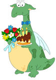 Cartoon dragon with the birthday cake and flowers Stock Image