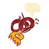 Cartoon dragon breathing fire with speech bubble Royalty Free Stock Photo