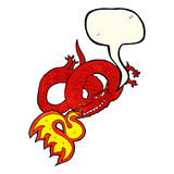 Cartoon dragon breathing fire with speech bubble Stock Image