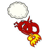 Cartoon dragon breathing fire with thought bubble Stock Images