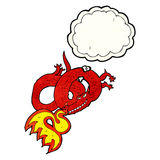 Cartoon dragon breathing fire with thought bubble Royalty Free Stock Images