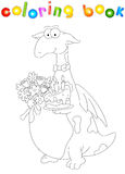 Cartoon dragon with a cake and flowers. Coloring book for kids Stock Photo