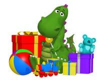 Cartoon dragon celebrating the birthday Royalty Free Stock Photography