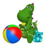 Cartoon dragon celebrating the birthday Stock Images