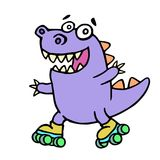 Cartoon dragon clothed the rollerblades. Vector illustration Royalty Free Stock Images