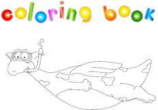 Cartoon dragon diver. Coloring book for kids Stock Images