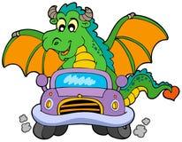 Cartoon dragon driving car royalty free stock photos