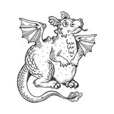 Cartoon dragon engraving vector illustration Royalty Free Stock Image