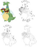 Cartoon dragon with the flowers and the birthday cake. Coloring Stock Image