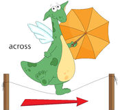 Cartoon dragon goes across the the rope. English grammar in pict Stock Photography